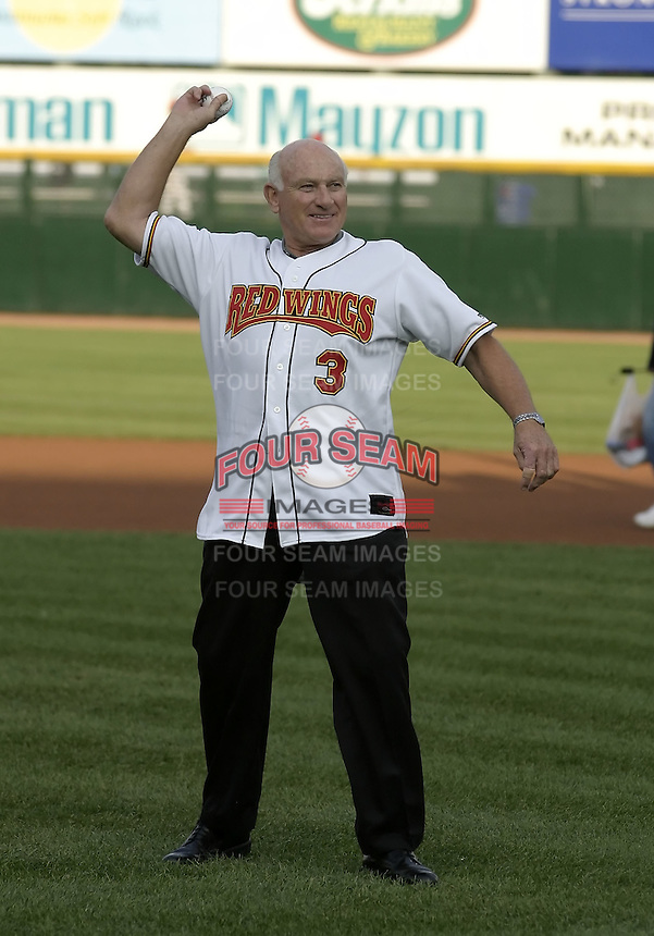 August 19, 2004:  Hall of Fame player Harmon Killebrew during an appearance with the Rochester Red Wings, Triple-A International League affiliate of the Minnesota Twins, before a game at Frontier Field in Rochester, NY.  Photo by:  Mike Janes/Four Seam Images