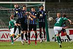 13.01.2021, xtgx, Fussball 3. Liga, VfB Luebeck - SV Waldhof Mannheim emspor, v.l. Marcel Hofrath (Mannheim, 31), Gerrit Gohlke (Mannheim, 27), Marco Schuster (Mannheim, 6), Mohamed Gouaida (Mannheim, 18) in der Mauer beim Freistoss von Martin Roeser (Luebeck, 9) <br /> <br /> (DFL/DFB REGULATIONS PROHIBIT ANY USE OF PHOTOGRAPHS as IMAGE SEQUENCES and/or QUASI-VIDEO)<br /> <br /> Foto © PIX-Sportfotos *** Foto ist honorarpflichtig! *** Auf Anfrage in hoeherer Qualitaet/Aufloesung. Belegexemplar erbeten. Veroeffentlichung ausschliesslich fuer journalistisch-publizistische Zwecke. For editorial use only.