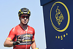Red Jersey Points leader Dylan Groenewegen (NED) Team Lotto NL-Jumbo at sign on before the start of Stage 5 The Meraas Stage final stage of the Dubai Tour 2018 the Dubai Tour's 5th edition, running 132km from Skydive Dubai to City Walk, Dubai, United Arab Emirates. 10th February 2018.<br /> Picture: LaPresse/Fabio Ferrari | Cyclefile<br /> <br /> <br /> All photos usage must carry mandatory copyright credit (© Cyclefile | LaPresse/Fabio Ferrari)