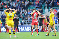 Romain Ntamack of Toulouse celebrates while Ihaia West of La Rochelle (10) looks dejected during the Heineken Champions Cup Final match between La Rochelle and Toulouse at Twickenham Stadium on Saturday 22 May 2021 (Photo by Rob Munro/Stewart Communications)