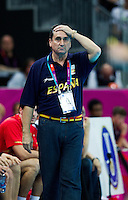 08 AUG 2012 - LONDON, GBR - Valero Rivera Lopez (ESP), the head coach of Spain, watches play during the men's London 2012 Olympic Games quarter final match against France at the Basketball Arena in the Olympic Park, in Stratford, London, Great Britain .(PHOTO (C) 2012 NIGEL FARROW)