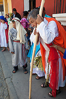A Blind Man Prepares to ask Jesus to Restore his Sight.  (Luke 18: 35-43).  Palm Sunday Re-enactment of events in the life of Jesus, by the group called Luna LLena (Full Moon), a group of volunteers in Antigua, Guatemala.