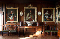 The portrait of the first Duke of Queensbury, builder of the house, hangs centred on the wall of the dining room