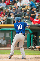 Brian Ward (10) of the Oklahoma City Dodgers at bat against the Salt Lake Bees in Pacific Coast League action at Smith's Ballpark on May 27, 2015 in Salt Lake City, Utah.  (Stephen Smith/Four Seam Images)