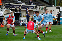 Matt Gordon of London Scottish practising passing during the Championship Cup match between London Scottish Football Club and Nottingham Rugby at Richmond Athletic Ground, Richmond, United Kingdom on 28 September 2019. Photo by Carlton Myrie / PRiME Media Images