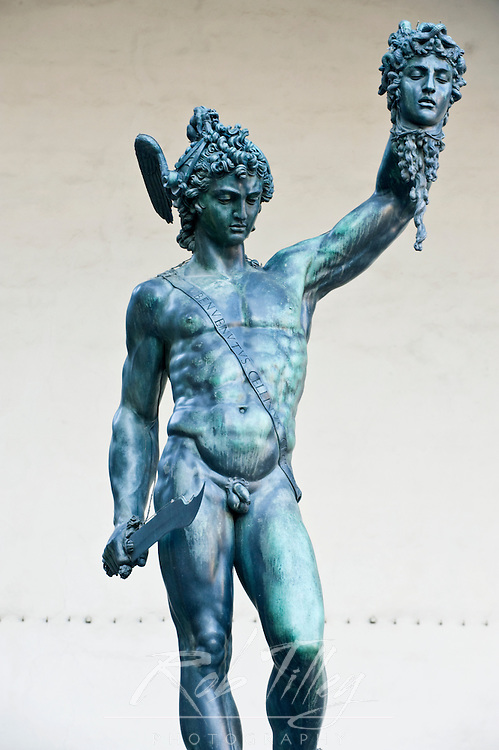 Europe, Italy, Tuscany, Florence, Statue of Perseus with the Head of Medusa by Benvenuto Cellini at Loggia dei Lanzi
