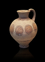 Mycenaean pot with cycladic style design , Grave Circle B, Mycenae 17-16thj Cent BC. National Archaeological Museum Athens.  Black Background<br /> <br /> Bichromatic Cycladic style depicying circles. Cat No 8614