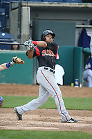 Fernandez Perez (13) of the Lake Elsinore Storm bats against the Rancho Cucamonga Quakes at LoanMart Field on April 10, 2016 in Rancho Cucamonga, California. Lake Elsinore defeated Rancho Cucamonga, 7-6. (Larry Goren/Four Seam Images)