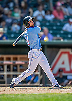 23 June 2019: New Hampshire Fisher Cats third baseman Vinny Capra in action against the Trenton Thunder at Northeast Delta Dental Stadium in Manchester, NH. The Thunder defeated the Fisher Cats 5-2 in Eastern League play. Mandatory Credit: Ed Wolfstein Photo *** RAW (NEF) Image File Available ***
