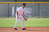 FCL Tigers West first baseman Chris Meyers (34) during a game against the FCL Yankees on July 31, 2021 at Tigertown in Lakeland, Florida.  (Mike Janes/Four Seam Images)