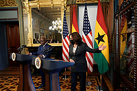 United States Vice President Kamala Harris welcomes President Nana Akufo-Addo of Ghana face reporters before their meeting in the Vice President's Ceremonial Office in the Eisenhower Executive Office Building in Washington, DC on September 23, 2021. <br /> Credit: Yuri Gripas / Pool via CNP /MediaPunch