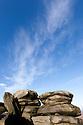 Gritstone outcrop, Over Owler Tor, nr. Hathersage, Peak District National Park, UK.