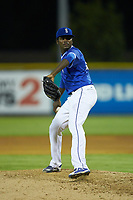Burlington Royals relief pitcher Ismael Maldonado (47) in action against the Kingsport Mets at Burlington Athletic Stadium on July 27, 2018 in Burlington, North Carolina. The Mets defeated the Royals 8-0.  (Brian Westerholt/Four Seam Images)