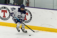 WORCESTER, MA - FEBRUARY 08: Bailey Bennett #8 of Holy Cross looks to pass during a game between Boston University and College of the Holy Cross at Hart Center Rink on February 08, 2020 in Worcester, Massachusetts.