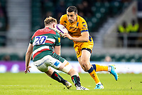 21st May 2021; Twickenham, London, England; European Rugby Challenge Cup Final, Leicester Tigers versus Montpellier; Tommy Reffell of Leicester Tigers tackles Alex Lozowski of Montpellier Rugby