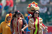 Bernie and the Hot Dog Launch Team entertain fans between innings during the game between the Inland Empire 66ers and the Rancho Cucamonga Quakes at San Manuel Stadium on May 27, 2018 in San Bernardino, California. The Quakes defeated the 66ers 8-2. (Donn Parris/Four Seam Images)