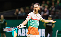 Rotterdam, The Netherlands, 12 Februari 2019, ABNAMRO World Tennis Tournament, Ahoy, first round singles: Kei Nishikori (JPN) reacts<br /> Photo: www.tennisimages.com/Henk Koster