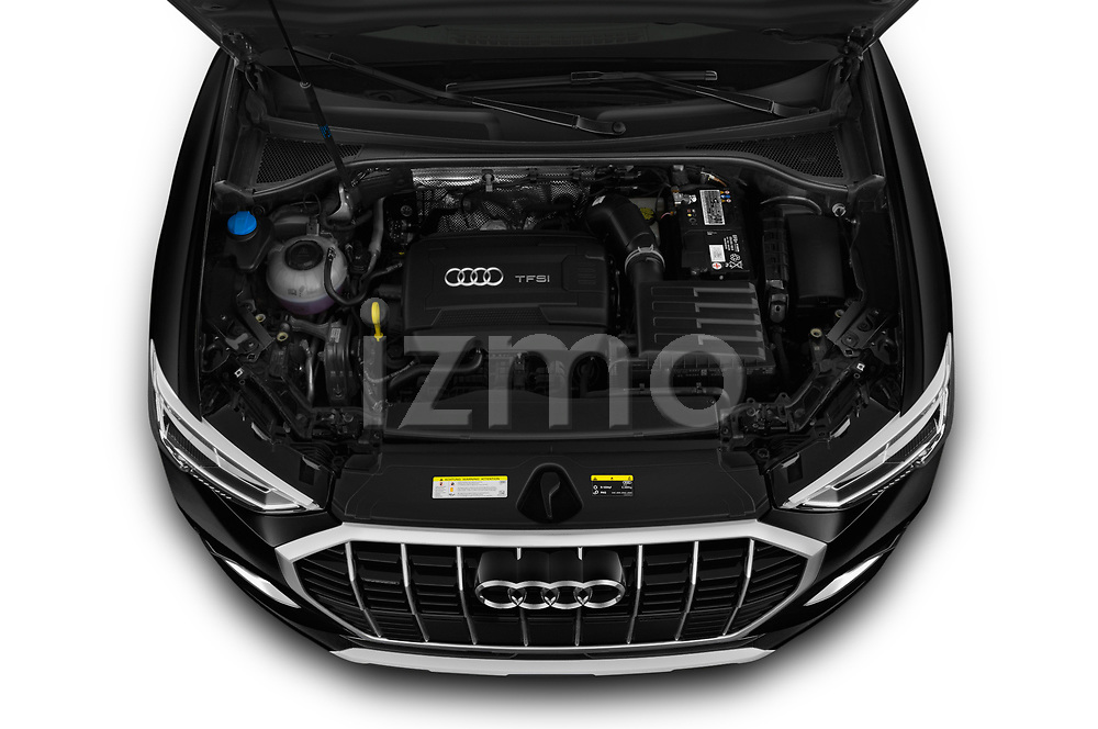 Car stock 2019 Audi Q3 Premium Plus 5 Door SUV engine high angle detail view