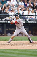 July 23, 2008: The Boston Red Sox's Dustin Pedroia at-bat against the Seattle Mariners at Safeco Field in Seattle, Washington.
