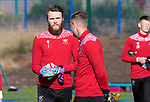 St Johnstone Training...<br />Goalkeeper Zander Clark pictured with Elliott Parish during training ahead of tomorrow nights Premier Sports Cup quarter final against Dundee<br />Picture by Graeme Hart.<br />Copyright Perthshire Picture Agency<br />Tel: 01738 623350  Mobile: 07990 594431