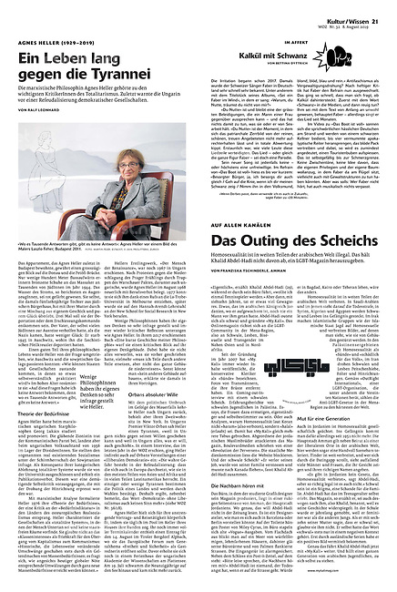 Die Wochenzeitung WOZ (Swiss weekly) on late philosopher Ágnes Heller, Budapest, Hungary, 08.2019.<br /> Picture: Martin Fejer