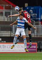Queens Park Rangers' MacAuley Bonne (front) battles with Bournemouth's Chris Mepham (behind)<br /> <br /> Photographer David Horton/CameraSport<br /> <br /> The EFL Sky Bet Championship - Bournemouth v Queens Park Rangers - Saturday 17th October 2020 - Vitality Stadium - Bournemouth<br /> <br /> World Copyright © 2020 CameraSport. All rights reserved. 43 Linden Ave. Countesthorpe. Leicester. England. LE8 5PG - Tel: +44 (0) 116 277 4147 - admin@camerasport.com - www.camerasport.com