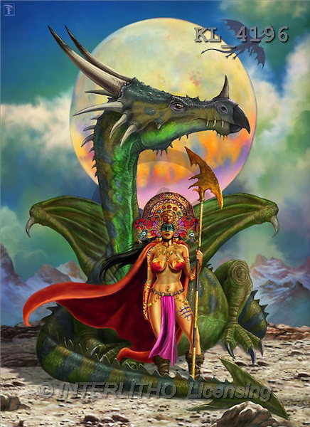 Interlitho, Lorenzo, FANTASY, paintings, dragon, moon, KL, KL4196,#fantasy# illustrations, pinturas, dragon