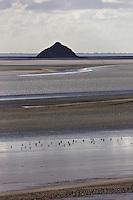 Europe/France/Normandie/Basse-Normandie/50/Manche/ Vains : Baie du Mont Saint-Michel, classée Patrimoine Mondial de l'UNESCO, L'  Ilot de Tombelaine depuis   la Pointe du Grouin du Sud  // Europe/France/Normandie/Basse-Normandie/50/Manche/ Vains : Bay of Mont Saint Michel, listed as World Heritage by UNESCO,   Tombelaine island  since  Pointe du Grouin du Sud