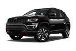 Stock pictures of low aggressive front three quarter view of a 2017 Jeep New Compass Trailhawk 5 Door SUV