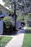 Clarence S. Stein: Baldwin Hills Village, rear patios and walkway. Photo '84.