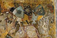 Europe/France/Auvergne/63/Puy-de-Dôme/Saint Floret: Le Château - Détail fresques XIVème siècle