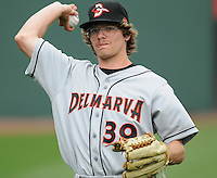 RHP Ryan Berry (39) of the Delmarva Shorebirds, No. 24 top prospect of the Baltimore Orioles, in a game against the Greenville Drive on Opening Day, April 8, 2010, at Fluor Field at the West End in Greenville, S.C. Photo by: Tom Priddy/Four Seam Images
