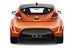 Straight rear view of 2017 Hyundai Veloster Manual 5 Door Hatchback Rear View  stock images