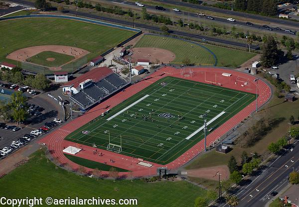 aerial photograph of the Justin-Siena High School Football Field, Napa, California