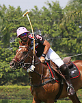 WELLINGTON, FL - MARCH 12:  Facundo Pieres of Orchard Hill takes a shot on the ball as Orchard Hill defeats Audi 9-8, in the early rounds of the USPA Gold Cup (26 goal) at the International Polo Club, Palm Beach on March 12, 2017 in Wellington, Florida. (Photo by Liz Lamont/Eclipse Sportswire/Getty Images)