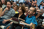 Pablo Echenique, Secretary of Government Action, Institutional Action and Program;  Gloria Elizo, secretary in Podemos of Politices against corruption; Pablo Iglesias, secretary general of Podemos; in a meeting of Podemos with people in Madrid where they exchange points of view, listen to concerns and draw shared horizons.<br /> October 5, 2019. <br /> (ALTERPHOTOS/David Jar)