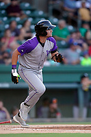 First baseman AJ Gill (7) of the Winston-Salem Dash in a game against the Greenville Drive on Tuesday, June 29, 2021, at Fluor Field at the West End in Greenville, South Carolina. (Tom Priddy/Four Seam Images)
