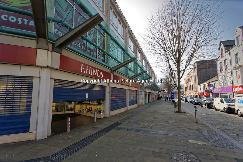Pictured: Union Street in the deserted Swansea city centre, Wales, UK. Tuesday 24 March 2020<br /> Re: Covid-19 Coronavirus pandemic, UK.