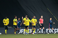 WIENER NEUSTADT, AUSTRIA - MARCH 25: Jamal Lowe #17 of Jamaica celebrates with Andre Gray #11 of Jamaica during a game between Jamaica and USMNT at Stadion Wiener Neustadt on March 25, 2021 in Wiener Neustadt, Austria.