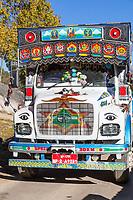 Phobjikha, Bhutan.  Truck with Traditional Buddhist-Bhutanese Decoration.