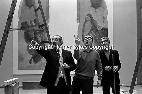 Hanging the Frescoes from Florence Arts Council Exhibition Hayward Gallery London 1969.<br /> <br /> If you know the names of any of these three Italian experts please let me know. Thanks you.