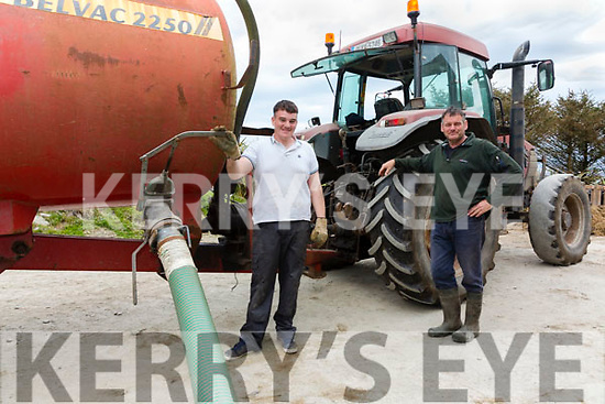 With more family home during the Covid Crisis, farm safety has never been more important, pictured here Pat O'Driscoll Chairman of the Kerry IFA watches over his son Denis while operating a slurry tanker.