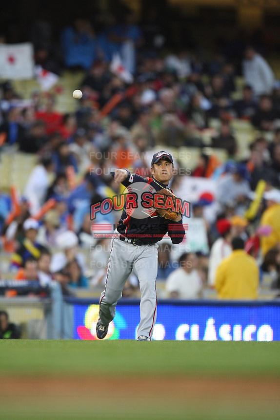 Yasuyuki Kataoka of Japan during a game against Korea at the World Baseball Classic at Dodger Stadium on March 23, 2009 in Los Angeles, California. (Larry Goren/Four Seam Images)