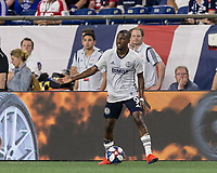 FOXBOROUGH, MA - JUNE 27: Fabrice-Jean Picault #9 looks to pass during a game between Philadelphia Union and New England Revolution at Gillette Stadium on June 27, 2019 in Foxborough, Massachusetts.