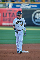 Jarrett Parker (32) of the Salt Lake Bees takes a lead from second base during the game against the El Paso Chihuahuas at Smith's Ballpark on August 17, 2019 in Salt Lake City, Utah. The Bees defeated the Chihuahuas 5-4. (Stephen Smith/Four Seam Images)