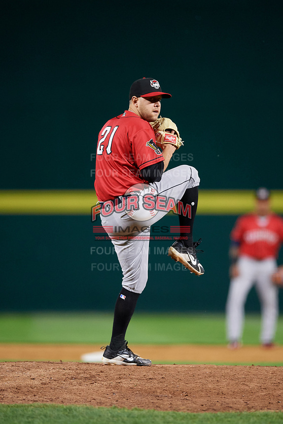Erie SeaWolves relief pitcher Matt Hall (21) delivers a pitch during a game against the Binghamton Rumble Ponies on May 14, 2018 at NYSEG Stadium in Binghamton, New York.  Binghamton defeated Erie 6-5.  (Mike Janes/Four Seam Images)