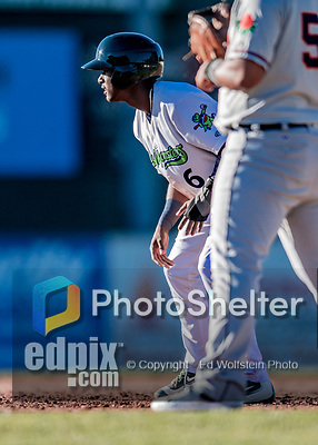 19 June 2018: Vermont Lake Monsters infielder Marcos Brito takes a lead off first in the second inning against the Connecticut Tigers at Centennial Field in Burlington, Vermont. The Lake Monsters defeated the Tigers 5-4 in the conclusion of a rain-postponed Lake Monsters Opening Day game started June 18. Mandatory Credit: Ed Wolfstein Photo *** RAW (NEF) Image File Available ***