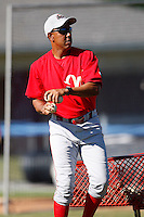 June 22, 2009:  Coach Bobby Meacham of the Williamsport Crosscutters during a game at Dwyer Stadium in Batavia, NY.  The Crosscutters are the NY-Penn League Short-Season Single-A affiliate of the Philadelphia Phillies.  Photo by:  Mike Janes/Four Seam Images