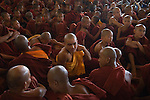 Monks at annually festival at Phaung Daw Oo temple, where once a year they receive new robes , money and food. Lake Inle. Myanmar (Burma.) 2006