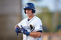 Charlotte Stone Crabs center fielder Josh Lowe (28) after getting a hit during a game against the Dunedin Blue Jays on June 5, 2018 at Charlotte Sports Park in Port Charlotte, Florida.  Dunedin defeated Charlotte 9-5.  (Mike Janes/Four Seam Images)